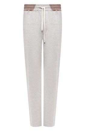 Мужские брюки изо льна и хлопка CORTIGIANI светло-серого цвета, арт. 114616/0000/60-70 | Фото 1
