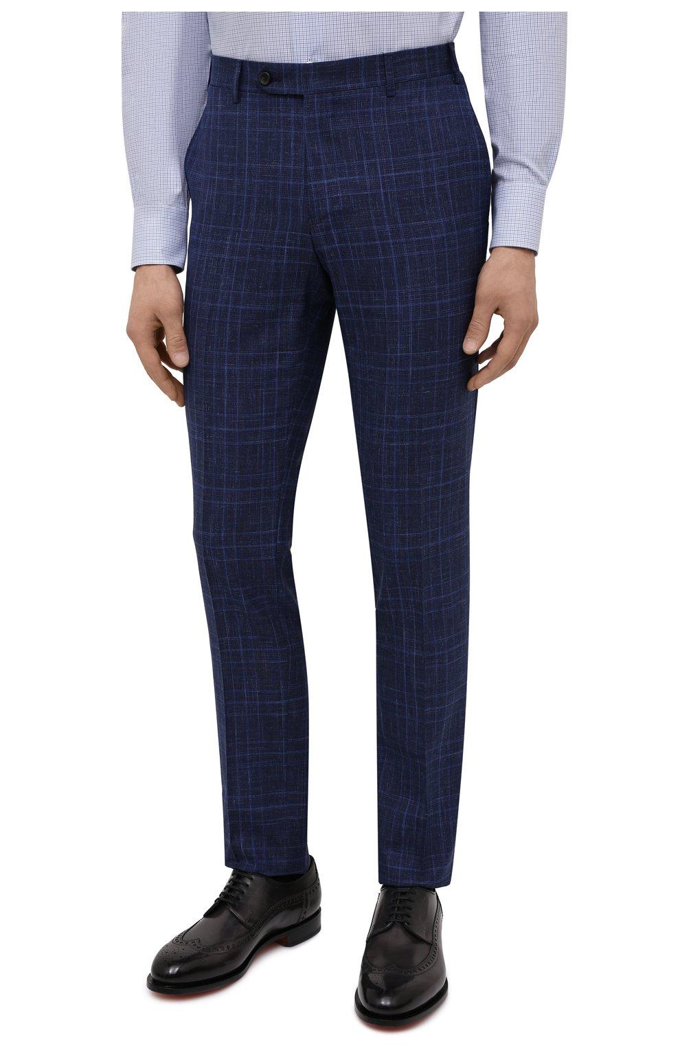Мужской костюм из шерсти и шелка CANALI темно-синего цвета, арт. 25270/53/BF03199 | Фото 4