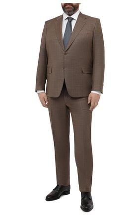 Мужской шерстяной костюм CANALI коричневого цвета, арт. 21280/10/BF00481/60-64   Фото 1 (Материал внешний: Шерсть; Рукава: Длинные; Материал подклада: Купро; Стили: Классический; Костюмы М: Однобортный; Big sizes: Big Sizes)