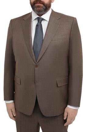 Мужской шерстяной костюм CANALI коричневого цвета, арт. 21280/10/BF00481/60-64   Фото 2 (Материал внешний: Шерсть; Рукава: Длинные; Материал подклада: Купро; Стили: Классический; Костюмы М: Однобортный; Big sizes: Big Sizes)