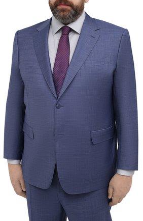 Мужской шерстяной костюм CANALI синего цвета, арт. 21280/10/AA02524/60-64   Фото 2 (Материал внешний: Шерсть; Материал подклада: Купро; Рукава: Длинные; Стили: Классический; Костюмы М: Однобортный; Big sizes: Big Sizes)