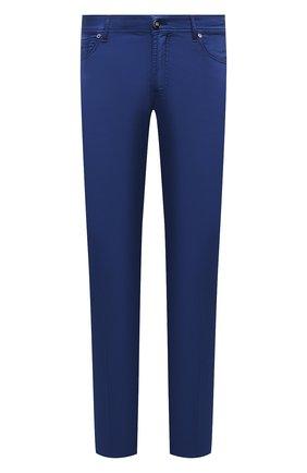 Мужские брюки из хлопка и шелка MARCO PESCAROLO темно-синего цвета, арт. NERAN0M18/4300 | Фото 1