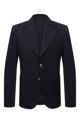 Мужской шерстяной пиджак VERSACE темно-синего цвета, арт. A88820/1F00737   Фото 1