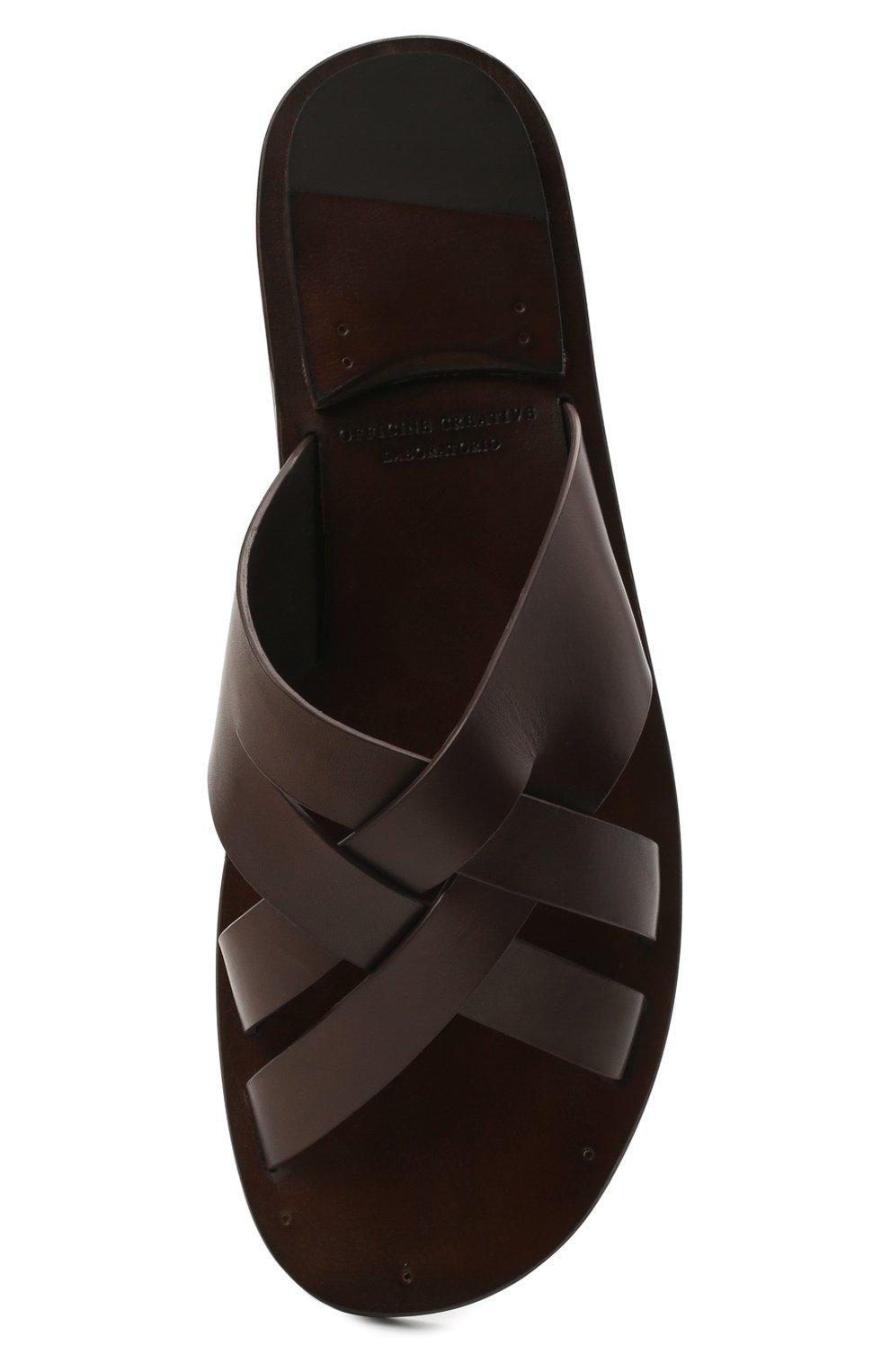 Мужские кожаные шлепанцы OFFICINE CREATIVE темно-коричневого цвета, арт. K0NTRAIRE/003/SPALLA PIUMA | Фото 5 (Материал внутренний: Натуральная кожа)