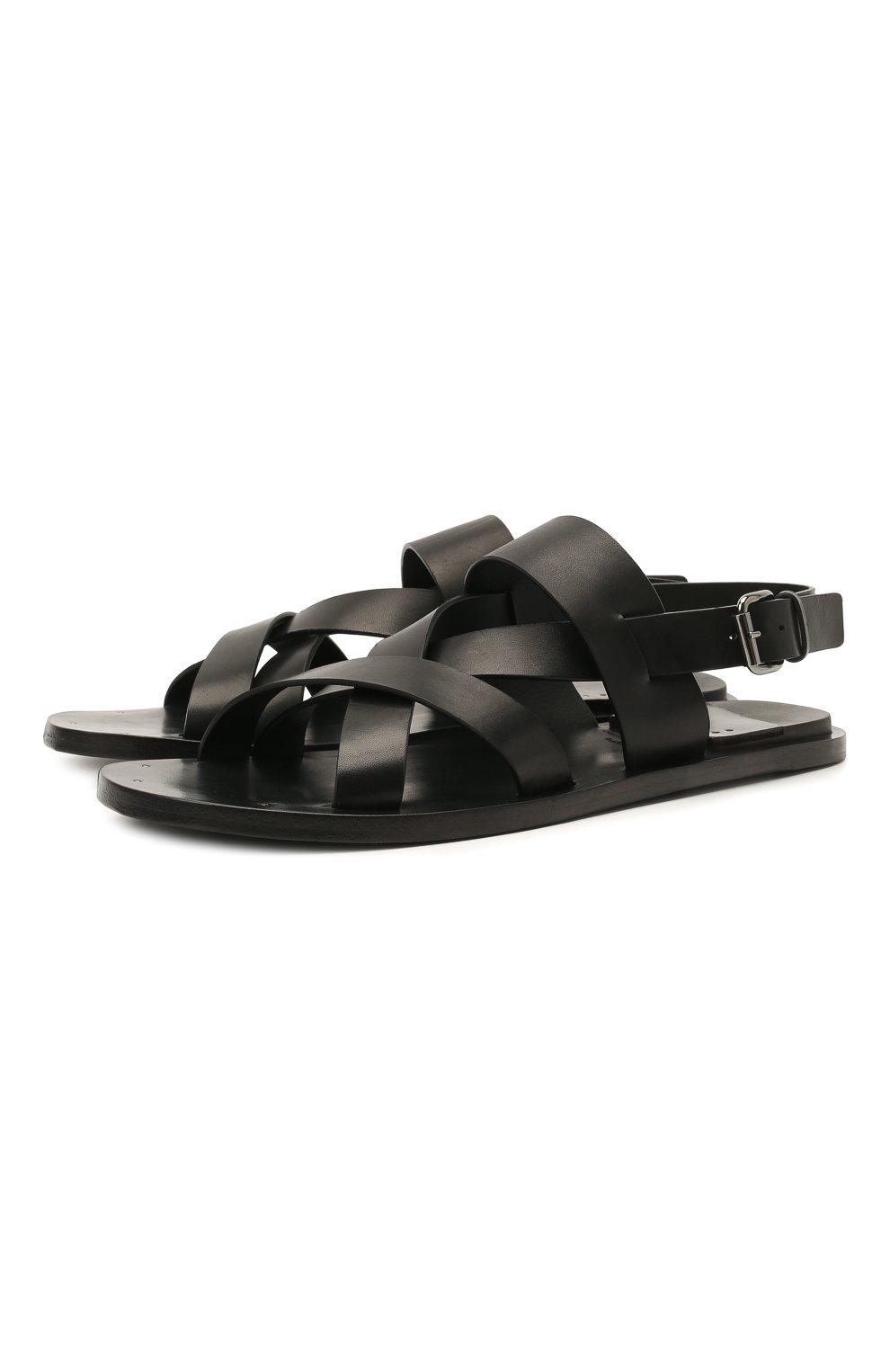 Мужские кожаные сандалии OFFICINE CREATIVE черного цвета, арт. K0NTRAIRE/005/SPALLA PIUMA | Фото 1 (Материал внутренний: Натуральная кожа)
