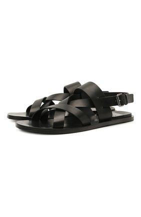 Мужские кожаные сандалии OFFICINE CREATIVE черного цвета, арт. K0NTRAIRE/005/SPALLA PIUMA | Фото 1
