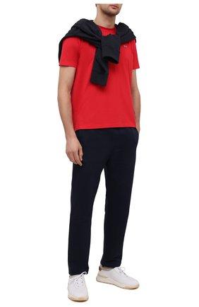 Мужские хлопковые брюки BRIONI темно-синего цвета, арт. UJDJ0L/P0637 | Фото 2 (Длина (брюки, джинсы): Стандартные; Материал внешний: Хлопок; Случай: Повседневный; Стили: Кэжуэл)