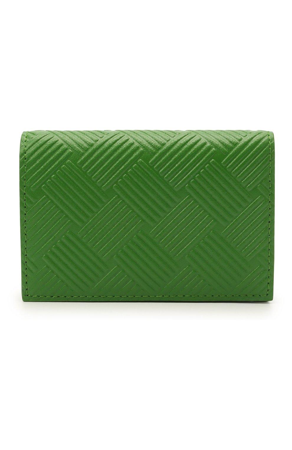 Мужской кожаный футляр для кредитных карт BOTTEGA VENETA зеленого цвета, арт. 649879/V0SQ3   Фото 1