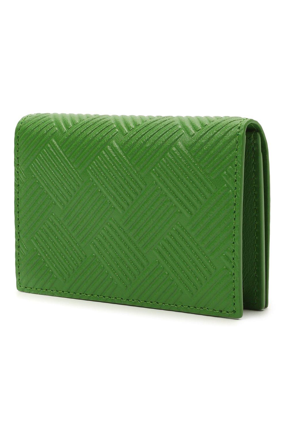 Мужской кожаный футляр для кредитных карт BOTTEGA VENETA зеленого цвета, арт. 649879/V0SQ3   Фото 2