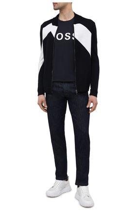 Мужской шерстяной кардиган EMPORIO ARMANI темно-синего цвета, арт. 3K1BTW/1MD3Z | Фото 2 (Длина (для топов): Стандартные; Рукава: Длинные; Материал внешний: Шерсть; Мужское Кросс-КТ: Кардиган-одежда; Стили: Кэжуэл)
