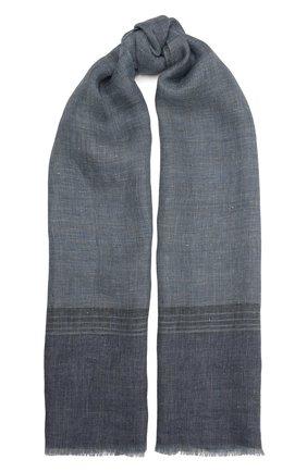 Мужской льняной шарф LORO PIANA синего цвета, арт. FAL6393 | Фото 1
