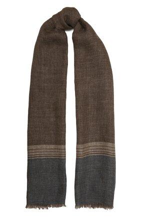 Мужской льняной шарф LORO PIANA коричневого цвета, арт. FAL6393 | Фото 1