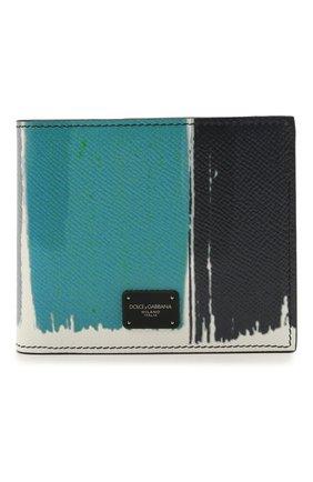 Мужской кожаное портмоне  DOLCE & GABBANA синего цвета, арт. BP2463/AZ657 | Фото 1