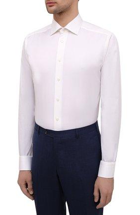 Мужская хлопковая сорочка ETON светло-бежевого цвета, арт. 3000 79513 | Фото 3 (Манжеты: На пуговицах; Рукава: Длинные; Воротник: Акула; Длина (для топов): Стандартные; Рубашки М: Slim Fit; Материал внешний: Хлопок; Стили: Классический; Случай: Формальный; Принт: Однотонные)