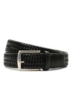 Мужской кожаный ремень CORNELIANI черного цвета, арт. 87V357-1120801/00 | Фото 1