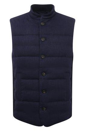 Мужской утепленный жилет CORNELIANI темно-синего цвета, арт. 87CM38-1120159/00 | Фото 1 (Материал подклада: Синтетический материал; Длина (верхняя одежда): Короткие; Материал внешний: Лен, Шерсть; Кросс-КТ: Куртка; Стили: Кэжуэл)