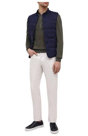 Мужской утепленный жилет CORNELIANI темно-синего цвета, арт. 87CM38-1120159/00 | Фото 2 (Материал подклада: Синтетический материал; Длина (верхняя одежда): Короткие; Материал внешний: Лен, Шерсть; Кросс-КТ: Куртка; Стили: Кэжуэл)