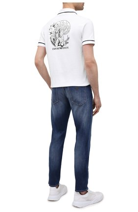 Мужское хлопковое поло EMPORIO ARMANI белого цвета, арт. 3K1F8P/1JM2Z | Фото 2 (Материал внешний: Хлопок; Длина (для топов): Стандартные; Рукава: Короткие; Застежка: Пуговицы; Стили: Кэжуэл)