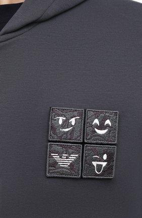 Мужской хлопковая толстовка EMPORIO ARMANI серого цвета, арт. 3K1MH5/1JHSZ   Фото 5 (Рукава: Длинные; Мужское Кросс-КТ: Толстовка-одежда; Длина (для топов): Стандартные; Материал внешний: Хлопок; Стили: Спорт-шик)
