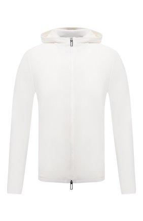 Мужской хлопковый кардиган EMPORIO ARMANI белого цвета, арт. 3K1MXG/1MLZZ | Фото 1 (Рукава: Длинные; Материал внешний: Хлопок; Длина (для топов): Стандартные; Мужское Кросс-КТ: Кардиган-одежда; Стили: Кэжуэл)