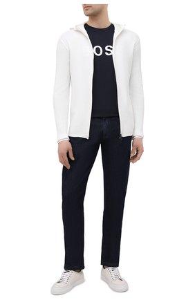 Мужской хлопковый кардиган EMPORIO ARMANI белого цвета, арт. 3K1MXG/1MLZZ | Фото 2 (Рукава: Длинные; Материал внешний: Хлопок; Длина (для топов): Стандартные; Мужское Кросс-КТ: Кардиган-одежда; Стили: Кэжуэл)