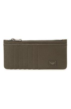 Мужской кожаный футляр для кредитных карт DOLCE & GABBANA хаки цвета, арт. BP2172/AZ602 | Фото 1