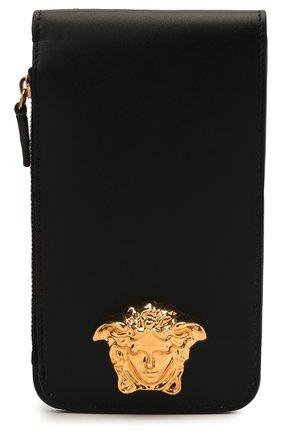 Мужская кожаная сумка la medusa VERSACE черного цвета, арт. DP88555/DVT8ME | Фото 1 (Материал: Натуральная кожа; Ремень/цепочка: На ремешке)