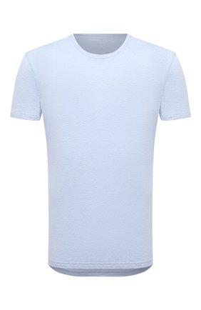Мужская льняная футболка DEREK ROSE голубого цвета, арт. 3163-J0RD002 | Фото 1