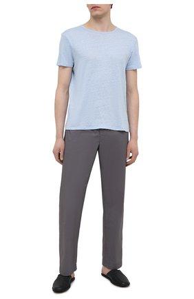 Мужская льняная футболка DEREK ROSE голубого цвета, арт. 3163-J0RD002 | Фото 2