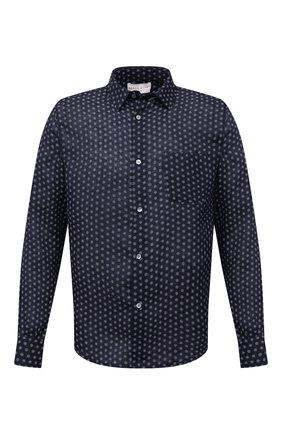 Мужская льняная рубашка DEREK ROSE темно-синего цвета, арт. 9820-MILA012 | Фото 1