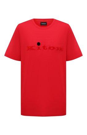 Мужская хлопковая футболка KITON красного цвета, арт. UK1164L | Фото 1