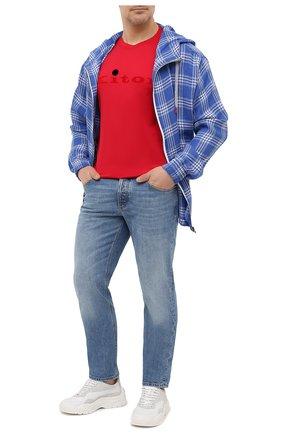 Мужская хлопковая футболка KITON красного цвета, арт. UK1164L | Фото 2