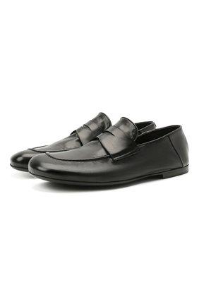 Мужские кожаные пенни-лоферы ROCCO P. черного цвета, арт. 12008/TRIP0N   Фото 1