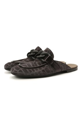 Мужские замшевые сабо ROCCO P. темно-серого цвета, арт. 12007/GHANA   Фото 1