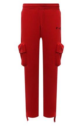 Мужские хлопковые брюки-карго OFF-WHITE красного цвета, арт. 0MCH036S21FLE002   Фото 1
