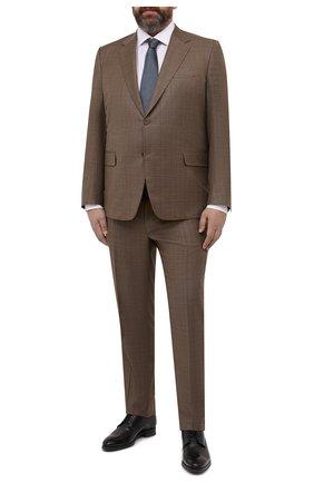 Мужской шерстяной костюм CANALI коричневого цвета, арт. 21280/10/BF00481   Фото 1 (Рукава: Длинные; Материал подклада: Купро; Материал внешний: Шерсть; Стили: Классический; Костюмы М: Однобортный)