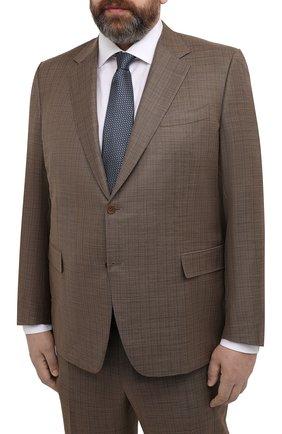 Мужской шерстяной костюм CANALI коричневого цвета, арт. 21280/10/BF00481   Фото 2 (Рукава: Длинные; Материал подклада: Купро; Материал внешний: Шерсть; Стили: Классический; Костюмы М: Однобортный)