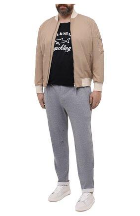 Мужская хлопковая футболка PAUL&SHARK черного цвета, арт. 21411052/C00/3XL-6XL | Фото 2