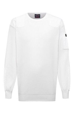 Мужской хлопковый свитер PAUL&SHARK белого цвета, арт. 21411547/C00/3XL-6XL | Фото 1 (Материал внешний: Хлопок; Рукава: Длинные; Длина (для топов): Удлиненные; Мужское Кросс-КТ: Свитер-одежда; Принт: Без принта; Стили: Кэжуэл)