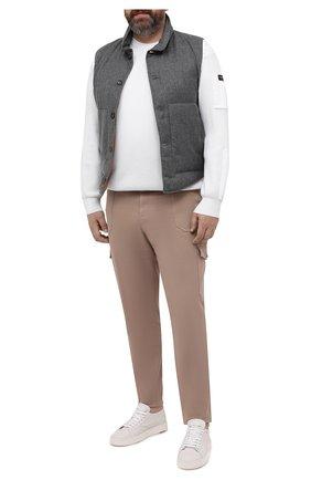 Мужской хлопковый свитер PAUL&SHARK белого цвета, арт. 21411547/C00/3XL-6XL | Фото 2 (Материал внешний: Хлопок; Рукава: Длинные; Длина (для топов): Удлиненные; Мужское Кросс-КТ: Свитер-одежда; Принт: Без принта; Стили: Кэжуэл)