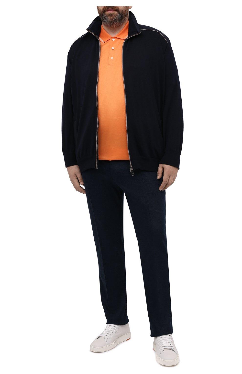Мужской шерстяной кардиган PAUL&SHARK темно-синего цвета, арт. 21411713/IAG/3XL-6XL   Фото 2 (Мужское Кросс-КТ: Кардиган-одежда; Материал внешний: Шерсть; Рукава: Длинные; Длина (для топов): Удлиненные; Стили: Кэжуэл)