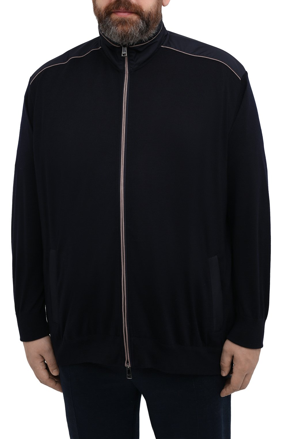Мужской шерстяной кардиган PAUL&SHARK темно-синего цвета, арт. 21411713/IAG/3XL-6XL   Фото 3 (Мужское Кросс-КТ: Кардиган-одежда; Материал внешний: Шерсть; Рукава: Длинные; Длина (для топов): Удлиненные; Стили: Кэжуэл)