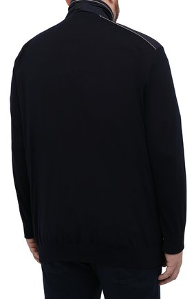 Мужской шерстяной кардиган PAUL&SHARK темно-синего цвета, арт. 21411713/IAG/3XL-6XL   Фото 4 (Мужское Кросс-КТ: Кардиган-одежда; Материал внешний: Шерсть; Рукава: Длинные; Длина (для топов): Удлиненные; Стили: Кэжуэл)
