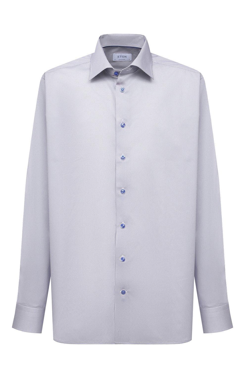 Мужская хлопковая сорочка ETON голубого цвета, арт. 1000 02236 | Фото 1 (Манжеты: На пуговицах; Воротник: Кент; Рукава: Длинные; Рубашки М: Regular Fit; Принт: С принтом; Длина (для топов): Удлиненные; Материал внешний: Хлопок; Стили: Классический; Случай: Формальный)