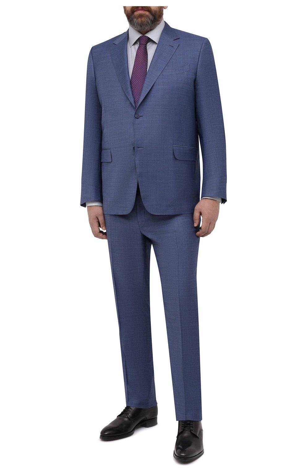 Мужская хлопковая сорочка ETON голубого цвета, арт. 1000 02236 | Фото 2 (Манжеты: На пуговицах; Воротник: Кент; Рукава: Длинные; Рубашки М: Regular Fit; Принт: С принтом; Длина (для топов): Удлиненные; Материал внешний: Хлопок; Стили: Классический; Случай: Формальный)