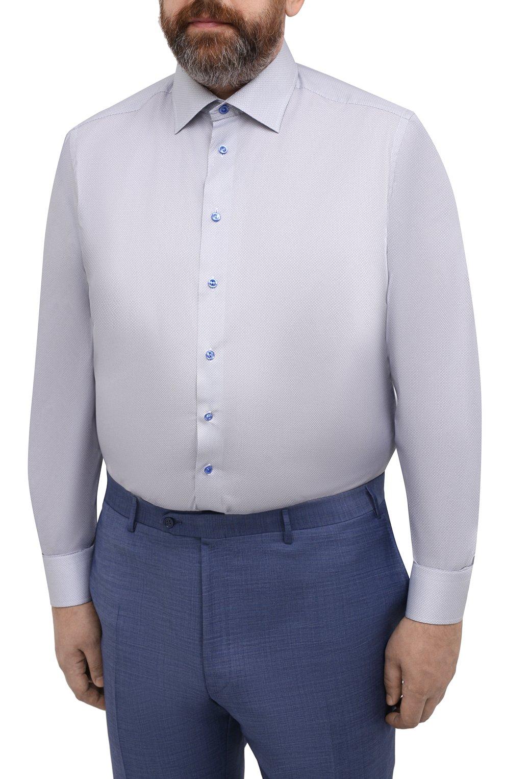 Мужская хлопковая сорочка ETON голубого цвета, арт. 1000 02236 | Фото 3 (Манжеты: На пуговицах; Воротник: Кент; Рукава: Длинные; Рубашки М: Regular Fit; Принт: С принтом; Длина (для топов): Удлиненные; Материал внешний: Хлопок; Стили: Классический; Случай: Формальный)