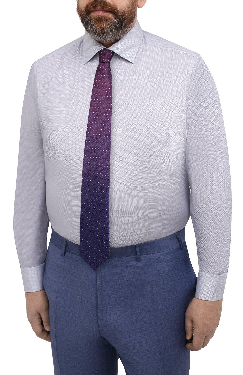 Мужская хлопковая сорочка ETON голубого цвета, арт. 1000 02236 | Фото 4 (Манжеты: На пуговицах; Воротник: Кент; Рукава: Длинные; Рубашки М: Regular Fit; Принт: С принтом; Длина (для топов): Удлиненные; Материал внешний: Хлопок; Стили: Классический; Случай: Формальный)