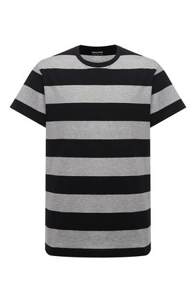 Мужская хлопковая футболка YOHJI YAMAMOTO серого цвета, арт. HD-T51-074 | Фото 1 (Длина (для топов): Стандартные; Рукава: Короткие; Материал внешний: Хлопок; Принт: С принтом; Стили: Гранж)