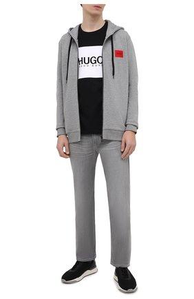 Мужской хлопковая толстовка HUGO серого цвета, арт. 50447972 | Фото 2