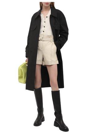 Женские кожаные шорты YVES SALOMON светло-бежевого цвета, арт. 21EYP21240APXX | Фото 2